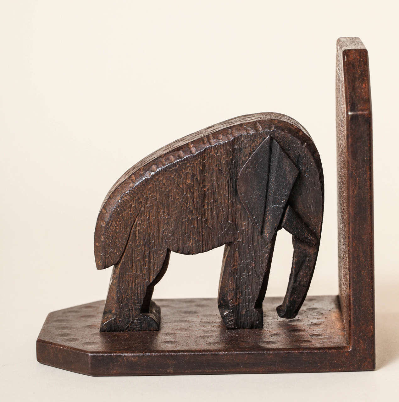 20th Century Michel Zadounaisky French Art Deco Wrought Iron Elephant Bookends For Sale