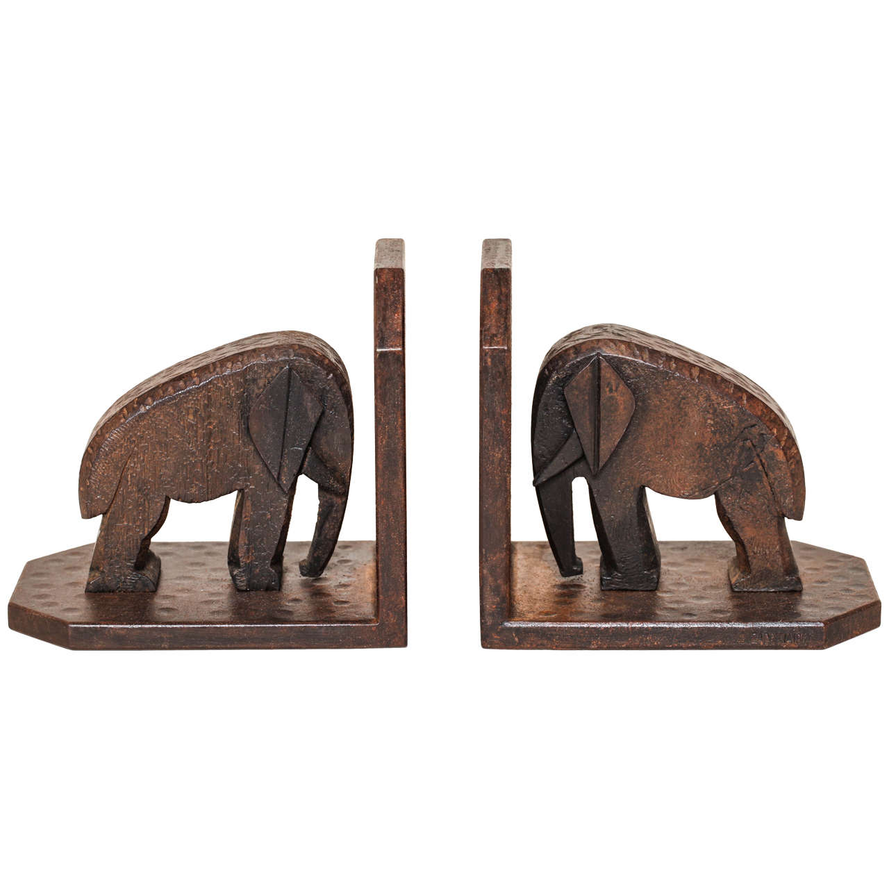 Michel Zadounaisky French Art Deco Wrought Iron Elephant Bookends For Sale