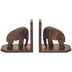 Michel Zadounaisky French Art Deco Wrought Iron Elephant Bookends
