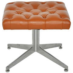 Ward Bennett Tufted Leather Stool