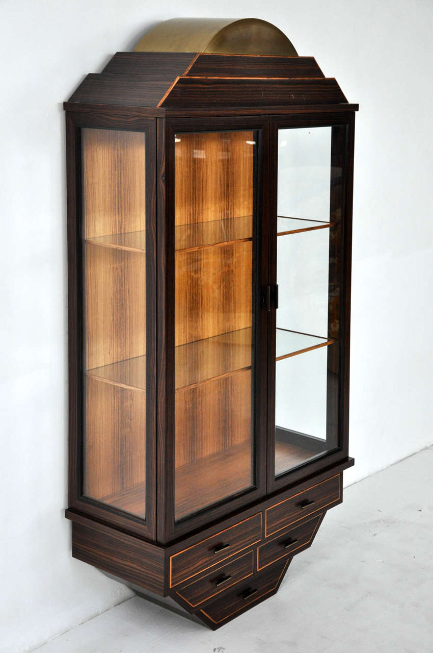 Wall Hanging Curio Cabinet In Rosewood And Br Gl Shelves Interior Light Signed