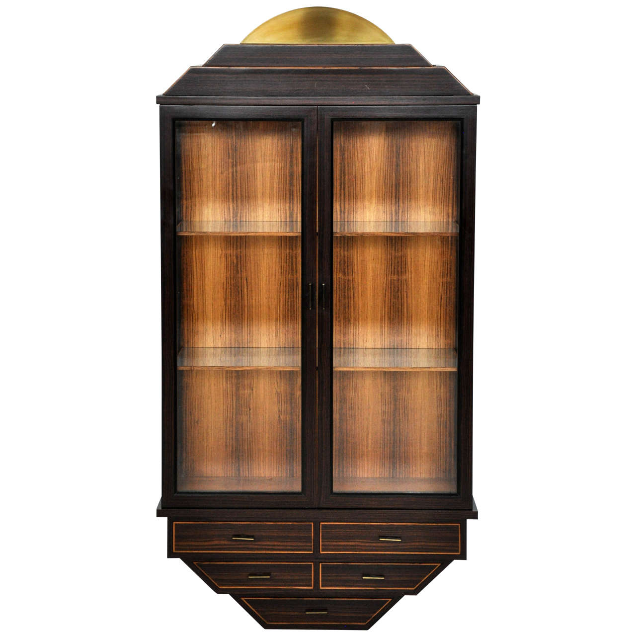 Exotic rosewood and brass wall hanging curio cabinet at for Curio cabinet