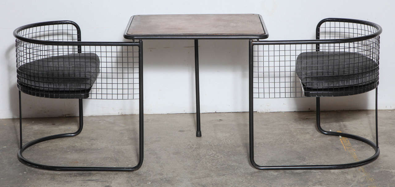French Iron and Wood Game Table with Leather Top and Chairs 4