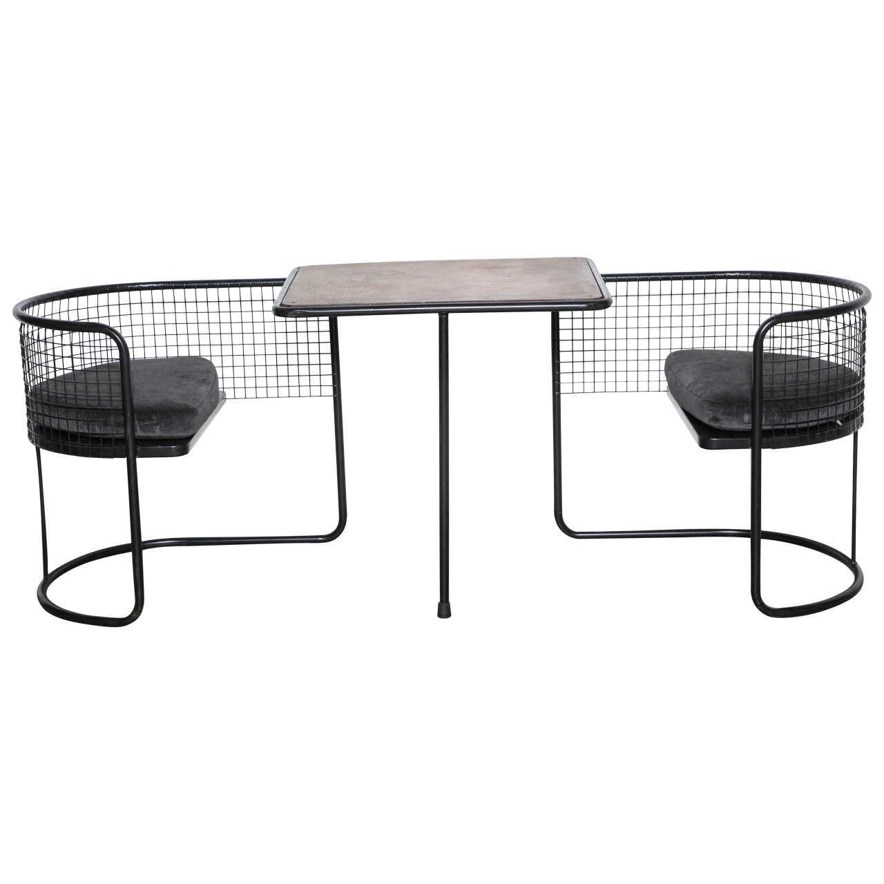 French Iron and Wood Game Table with Leather Top and Chairs