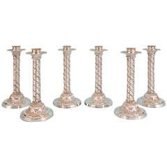 William IV Set of Six Impressive Old Sheffield Plate Candlesticks