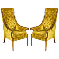 Pair of Hollywood Regency High Back Armchairs