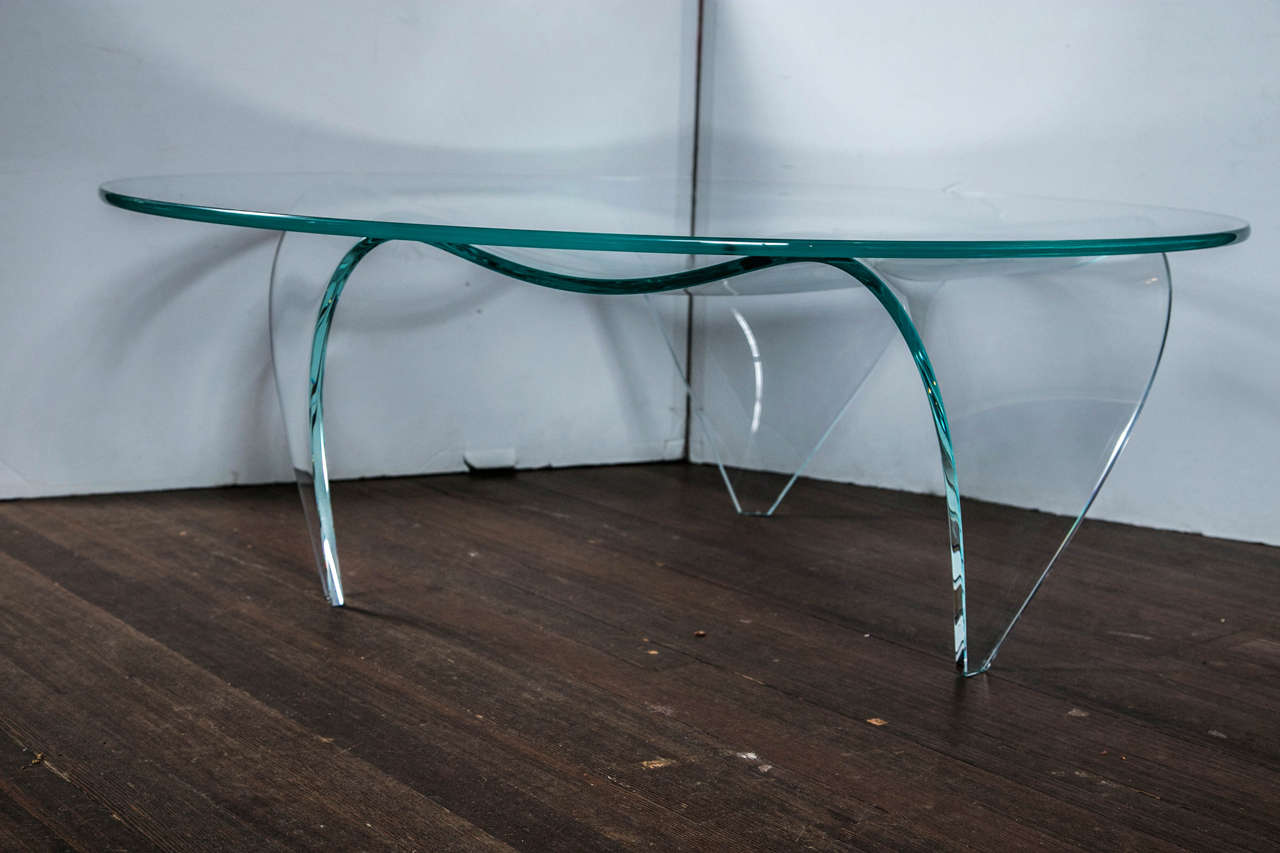 Pace Round Glass-Top and Glass Base Coffee Table In Excellent Condition For Sale In Stamford, CT