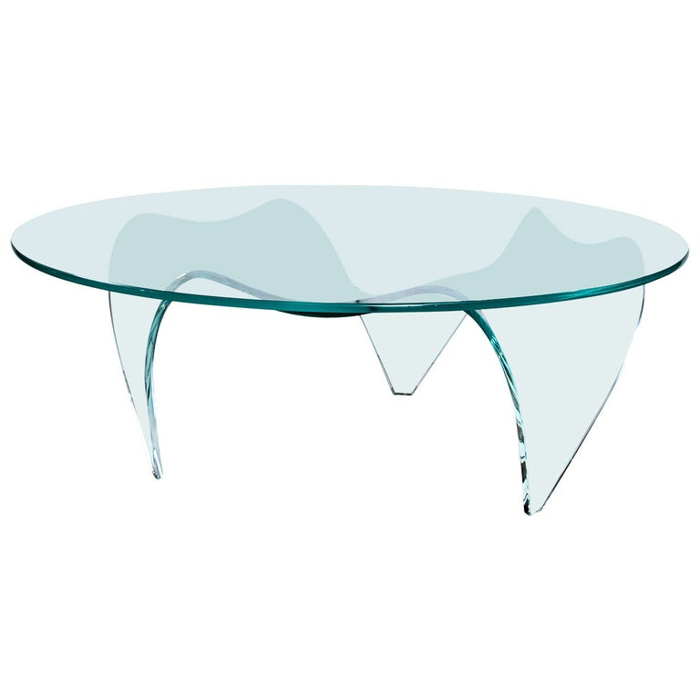 Pace Round Glass-Top and Glass Base Coffee Table For Sale