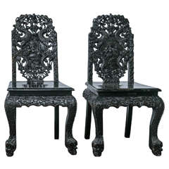 Pair of 1920s Carved Asian Side Chairs