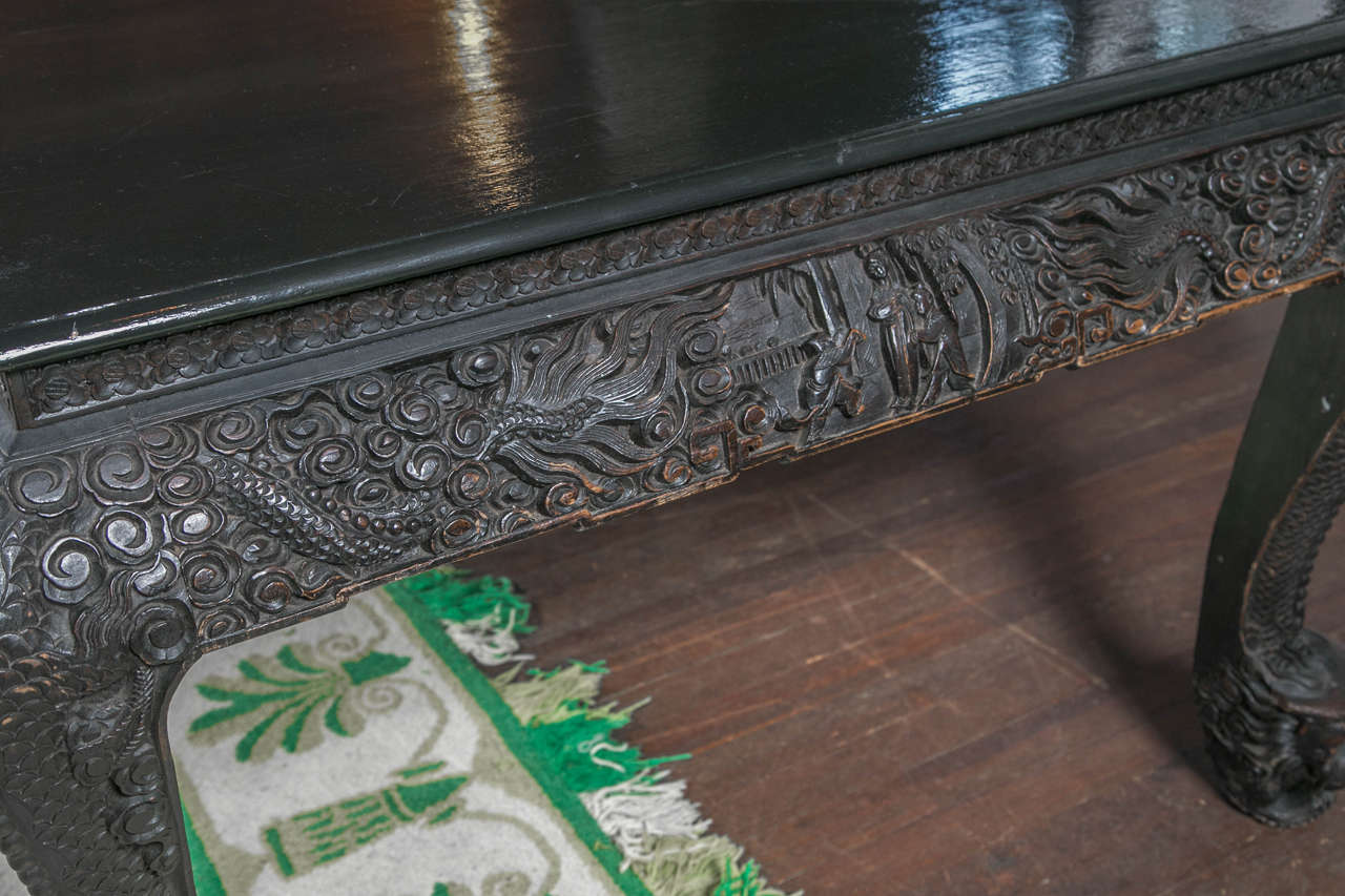 Carved and Exotic Asian Table For Sale 2