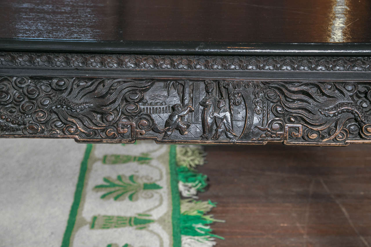 Carved and Exotic Asian Table For Sale 4