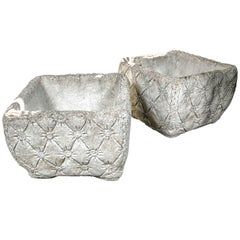 """Pair of Cast Stone """"Tufted"""" Planters"""