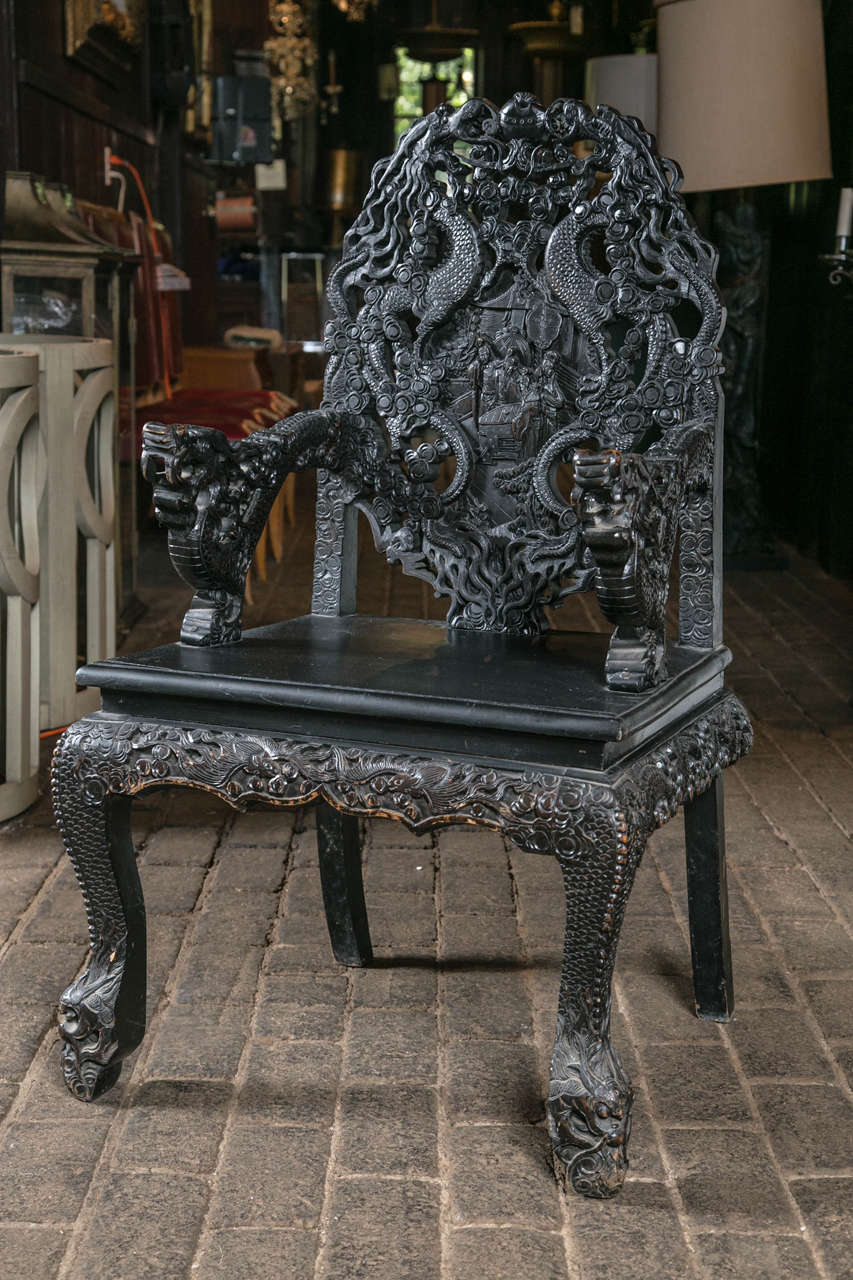 Pair of Carved Wood Asian Armchairs For Sale 1