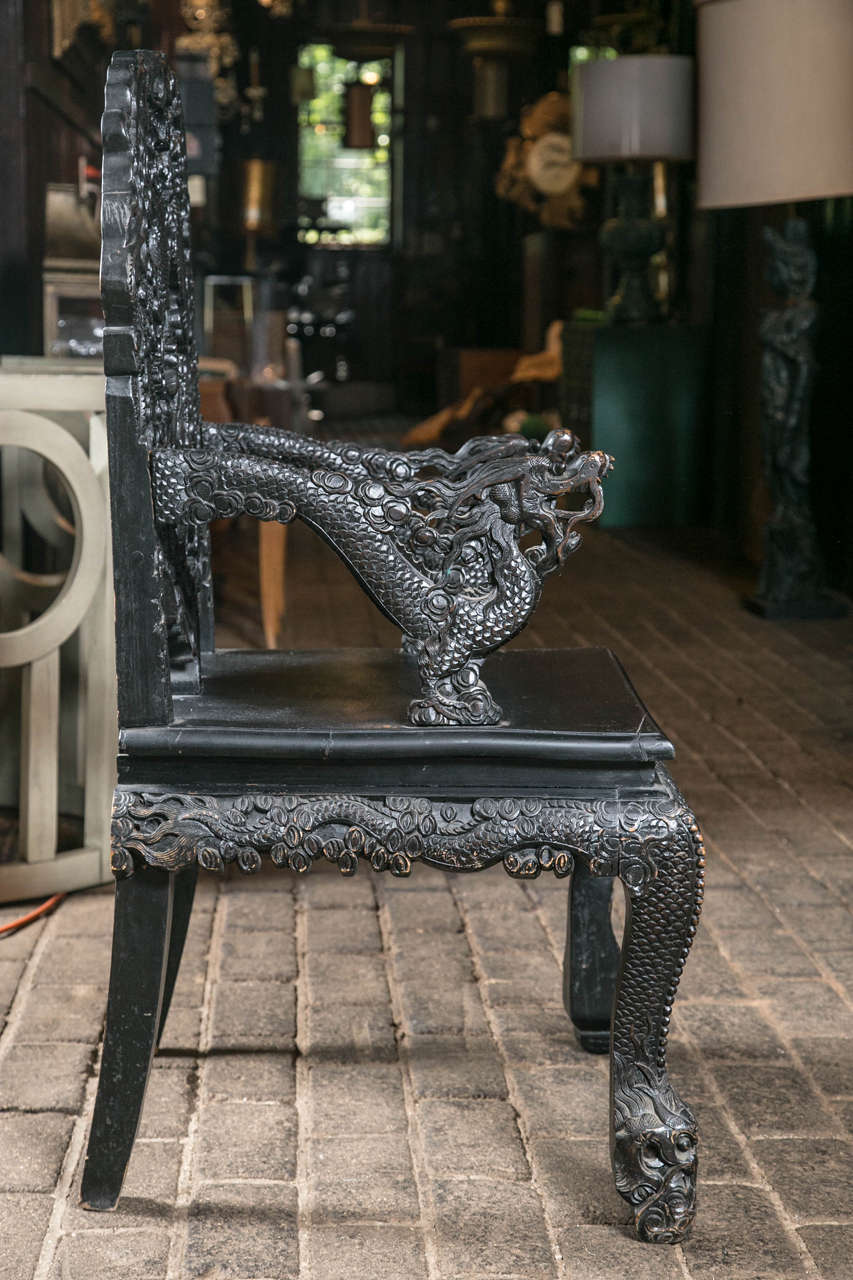 Pair of Carved Wood Asian Armchairs For Sale 3
