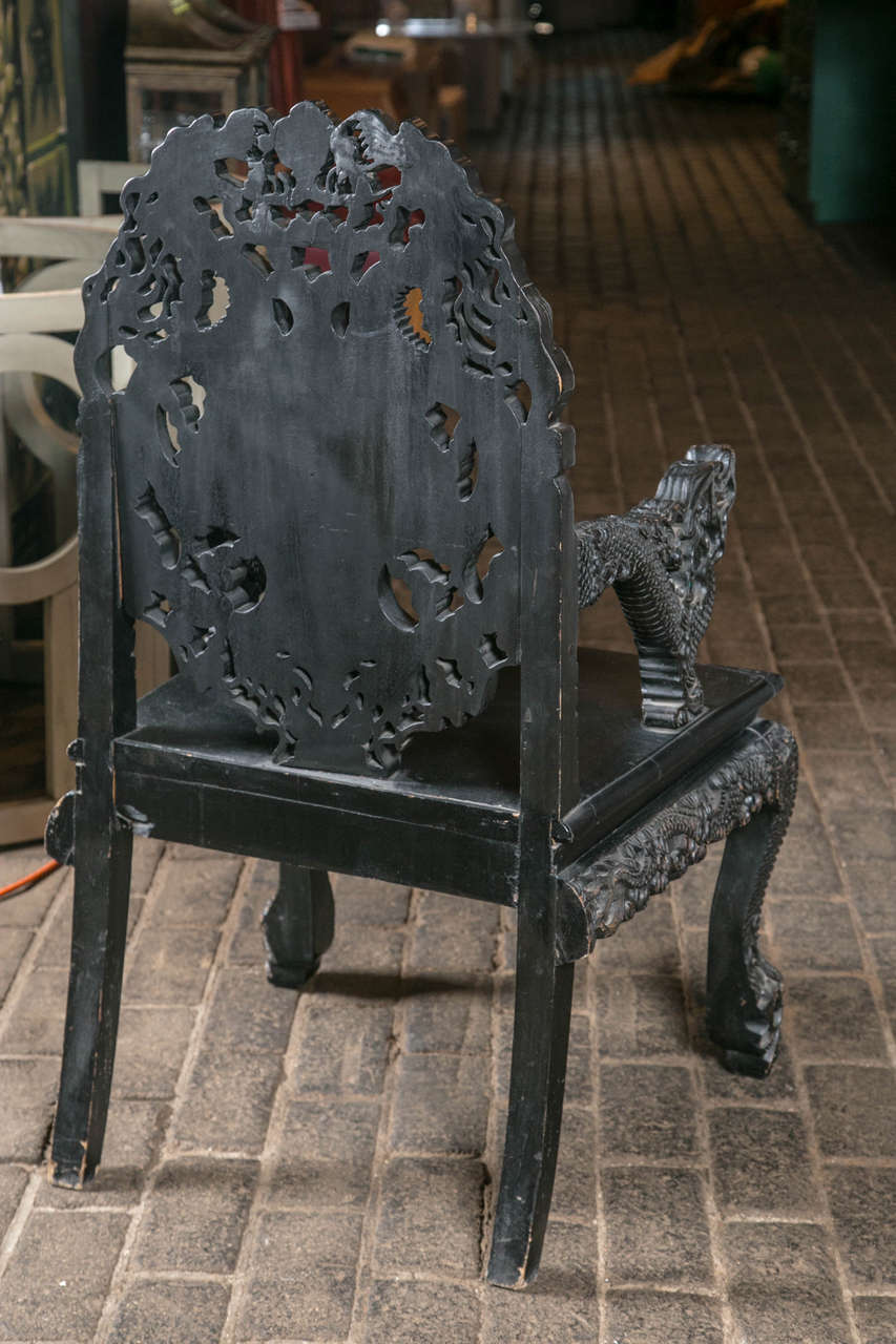Pair of Carved Wood Asian Armchairs For Sale 6