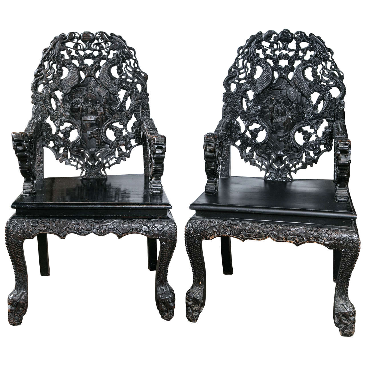 Pair of Carved Wood Asian Armchairs For Sale