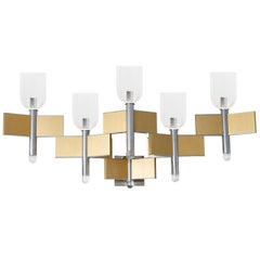 Chrome and Brass Sconce by Gaetano Sciolari ,Italy,1970s