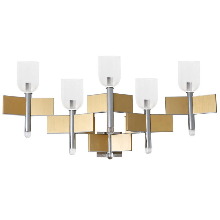 Chrome and Brass Sconce by Gaetano Sciolari ,Italy,1970s For Sale