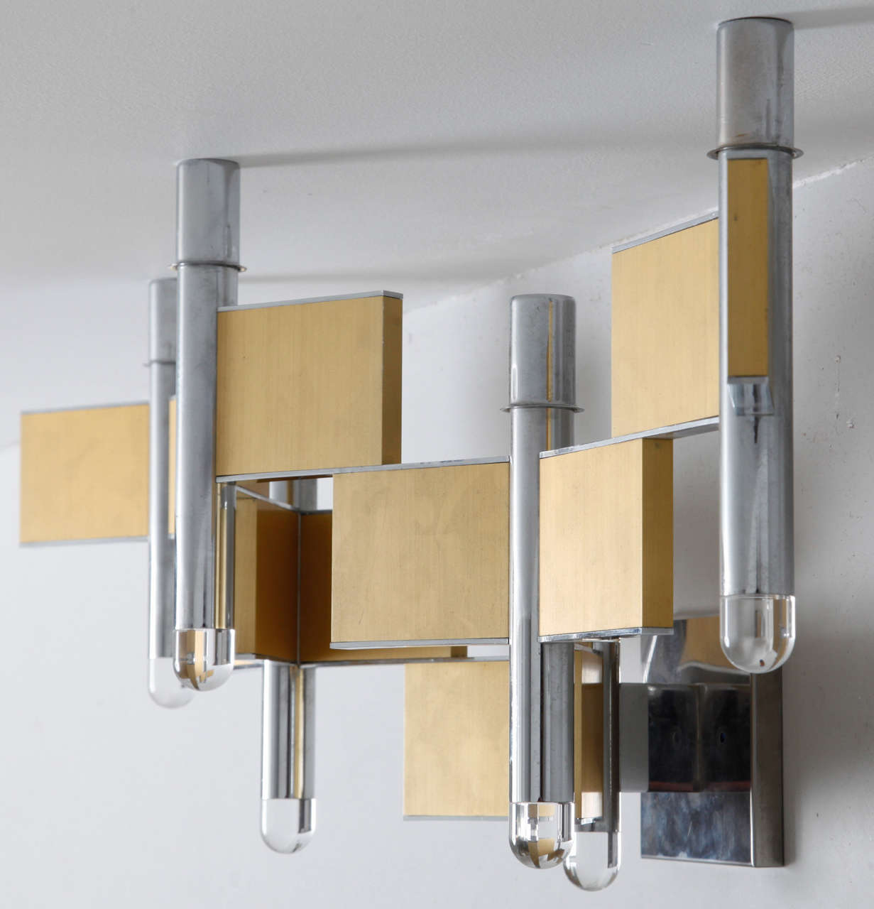 Mid-Century Modern Chrome and Brass Sconce by Gaetano Sciolari ,Italy,1970s For Sale