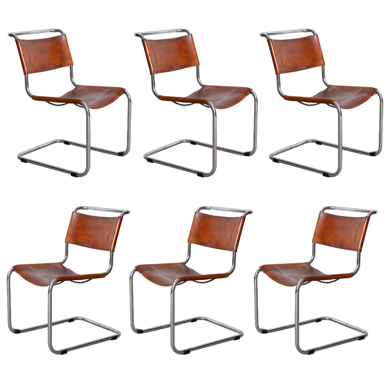 Mies Van Der Rohe 6x Cognac Color Seats At 1stdibs