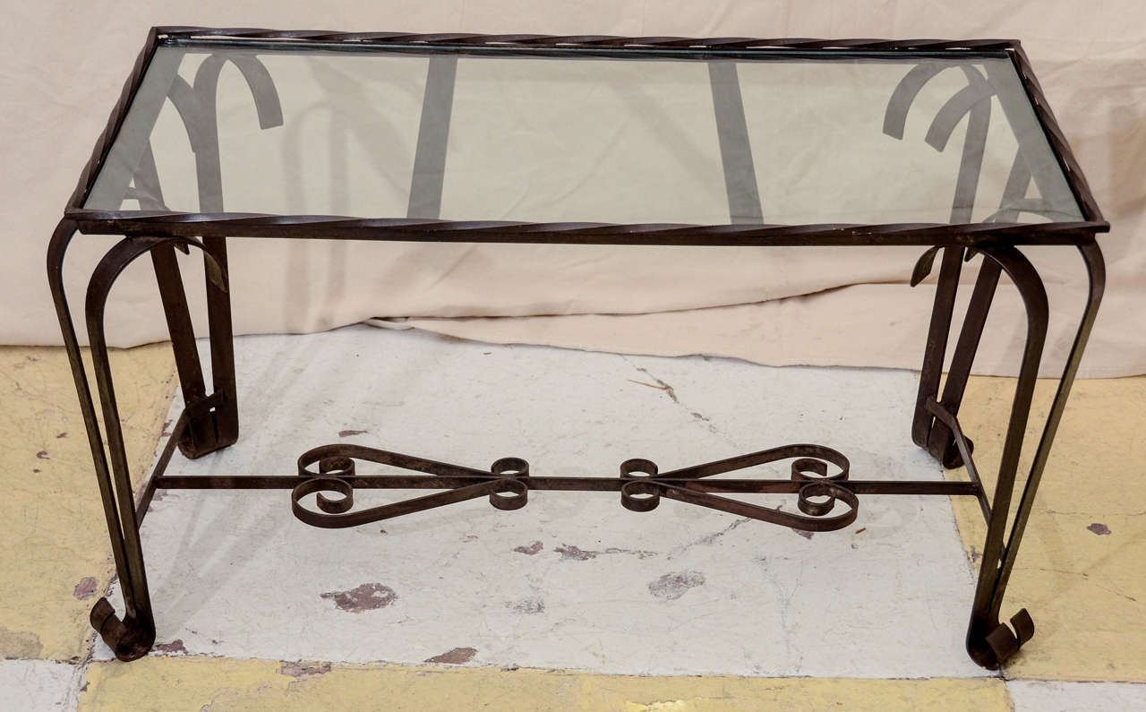 French 1940 39 s wrought iron glass top coffee table at 1stdibs for French glass coffee table