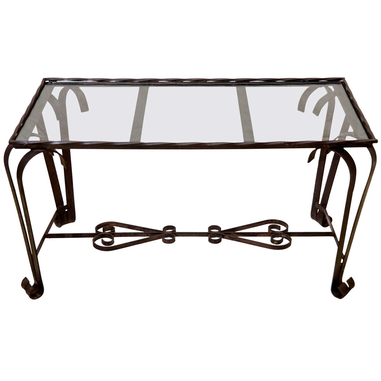 French 1940 39 S Wrought Iron Glass Top Coffee Table At 1stdibs