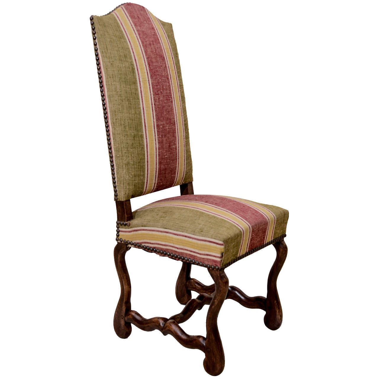 Oak Framed Os De Mouton Upholstered Side Chair For Sale