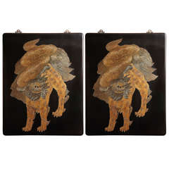Chinese, 1970s Modern Art Carved Lacquer Panel with Gold Leaf Guardian Lion