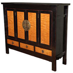 Late Qing Dynasty Black Lacquer and Burl Wood Cabinet with Accordion Doors