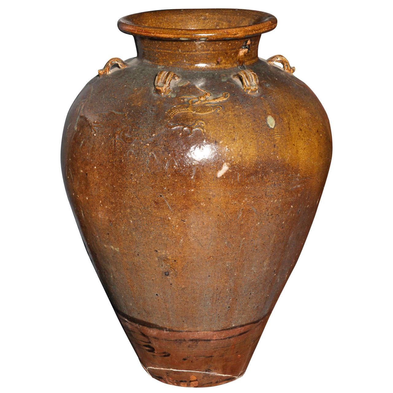 Yuan Dynasty Martaban Jar with Ochre Glaze from China, 12th-13th Century