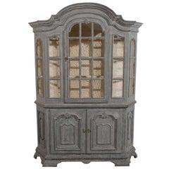 Swedish 1890s Rococo Style Grey Painted Vitrine Cabinet with Original Glass