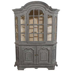 Swedish 1890s Rococo Style Grey Painted Vitrine Cabinet with Original Glass