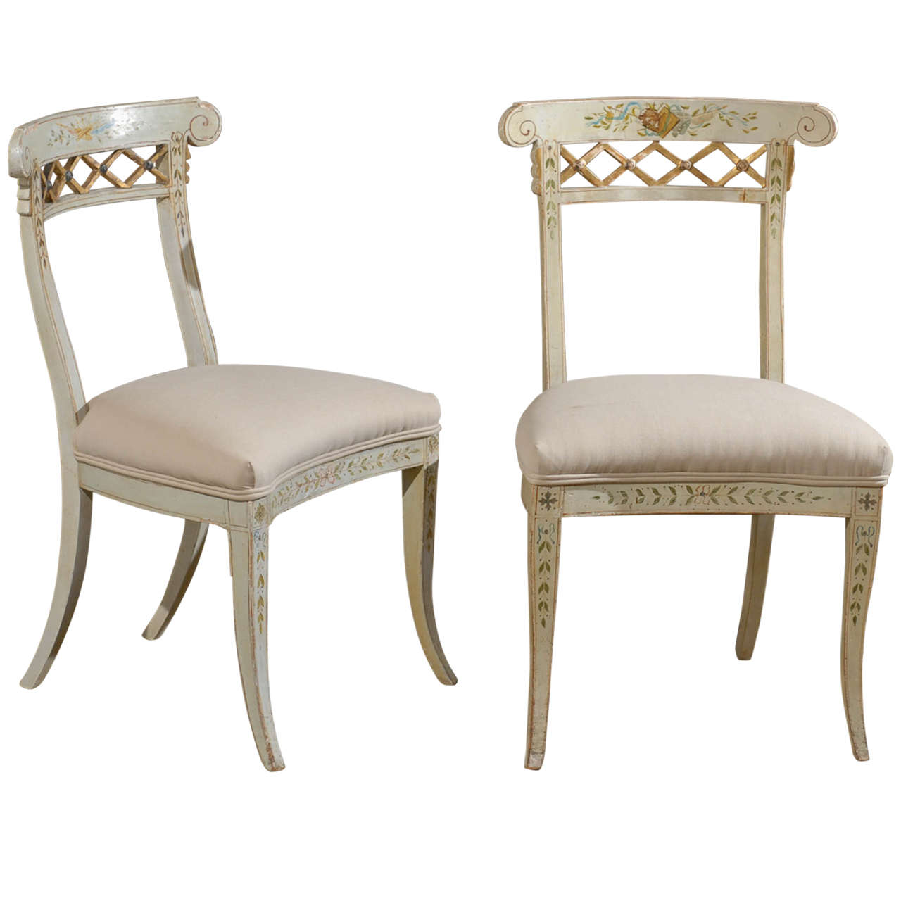 Set of Four Italian 1790s Neoclassical Period Music Chairs with Gilded Trellis