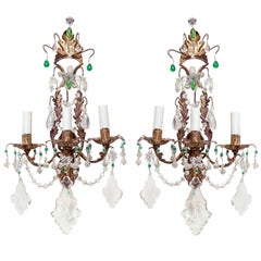 Unusual Pair of Gilt Metal and Crystal Sconces