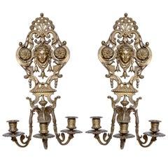 Pair of Bronze Classical Sconces