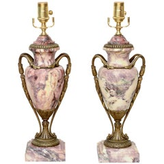 Pair of 19c. Rouge Marble Urn Lamps