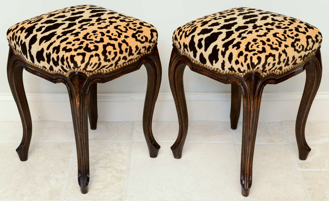 Pair of French Walnut Stools with Square Leopard Seats 2