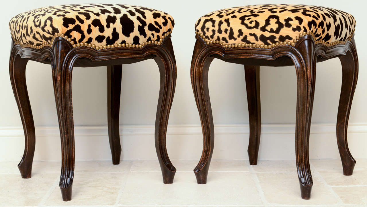 Pair of French Walnut Stools with Square Leopard Seats 4