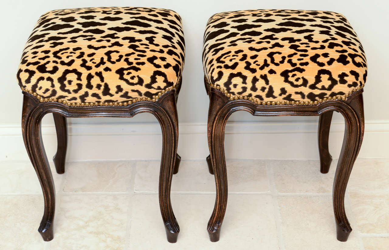 Pair of French Walnut Stools with Square Leopard Seats 5