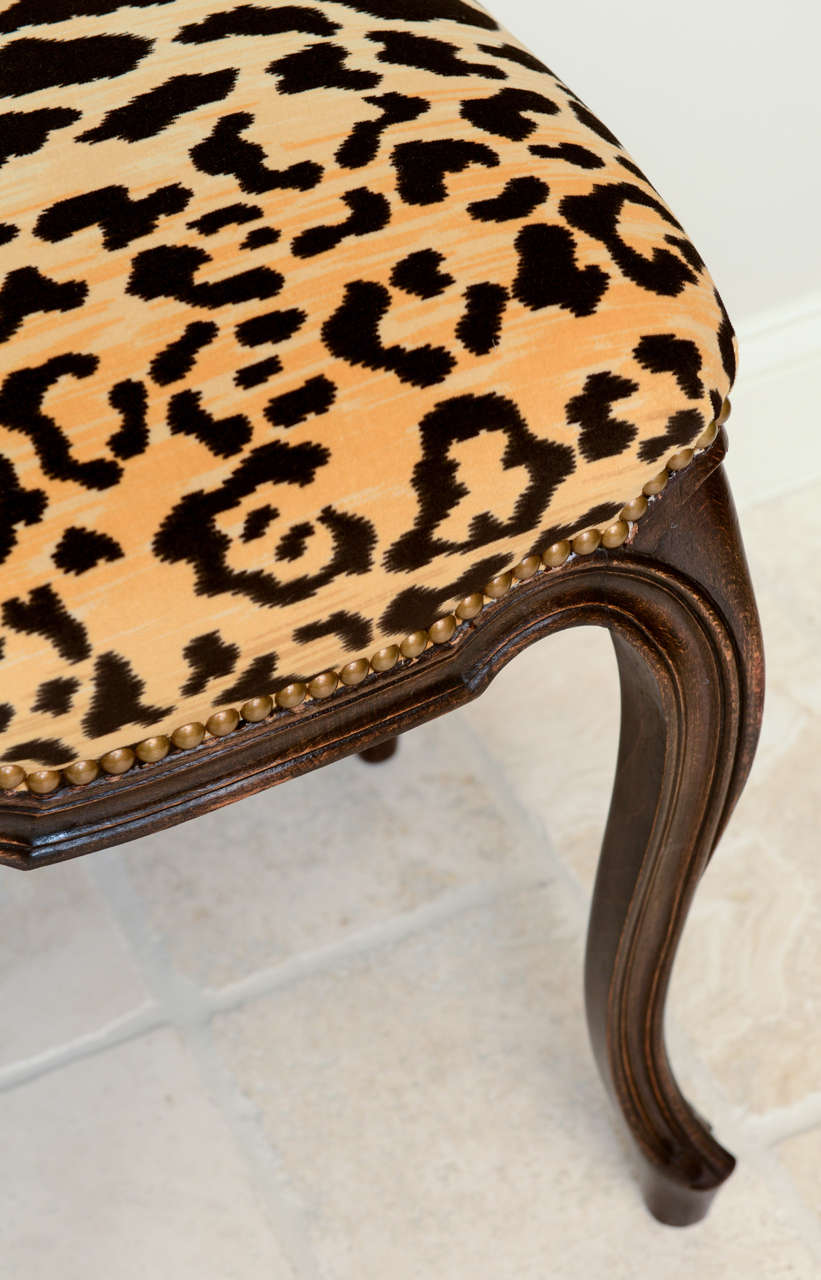 Pair Of French Walnut Stools With Square Leopard Seats At