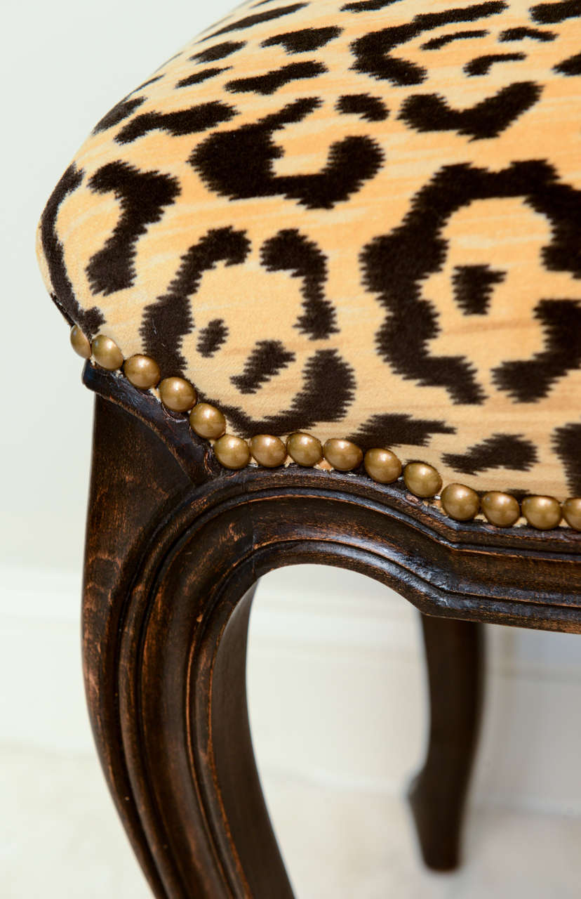Pair of French Walnut Stools with Square Leopard Seats 8