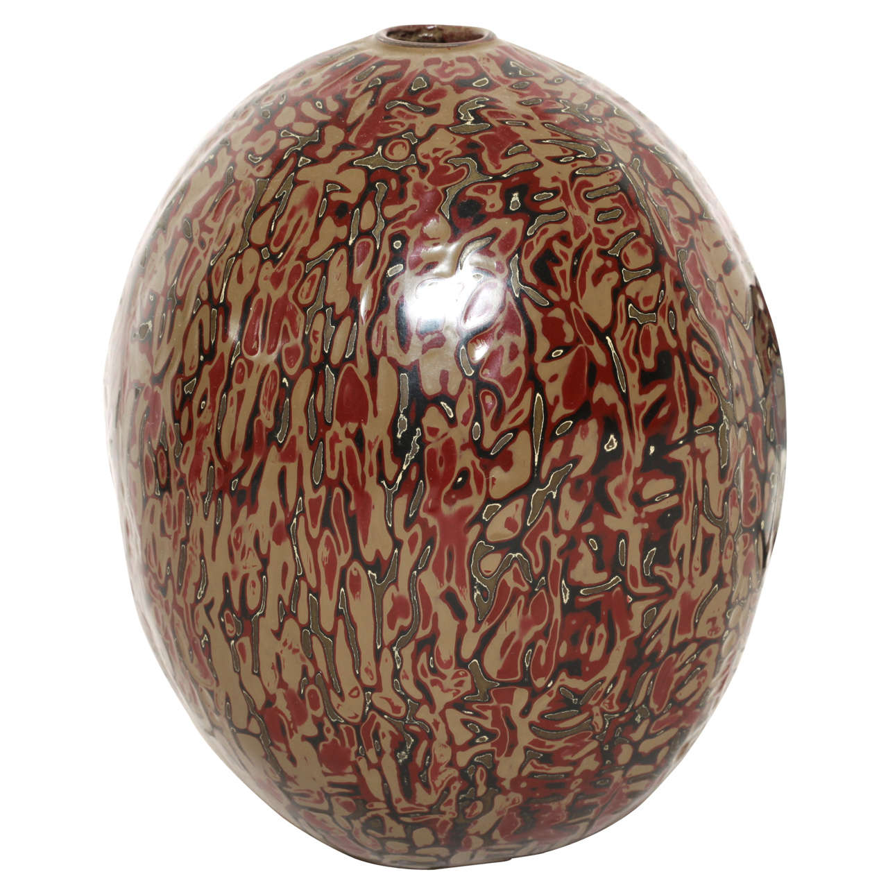 Jean Dunand French Art Deco Red, Green, Black w/ Light-Brown Lacquer Ovoid Vase