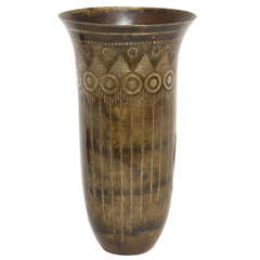 Jean Dunand French Art Deco Cornet Dinanderie Vase