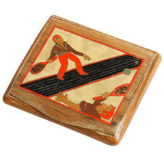 Jean Dunand Art Deco Fruitwood and Lacquered Cigarette Case