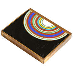 Jean Goulden French Art Deco Copper and Champlevé Enamel Box