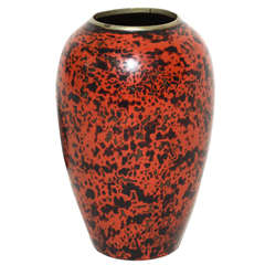 Jean Dunand French Art Deco Ovoid Red and Black Lacquered Brass Vase