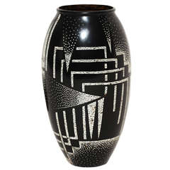 Jean Dunand French Art Deco Coquille d'Oeuf and Black Lacquered Vase
