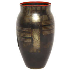 Jean Dunand French Art Deco Baluster Dinanderie Vase