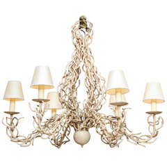 Midcentury Faux Coral Six-Light Chandelier