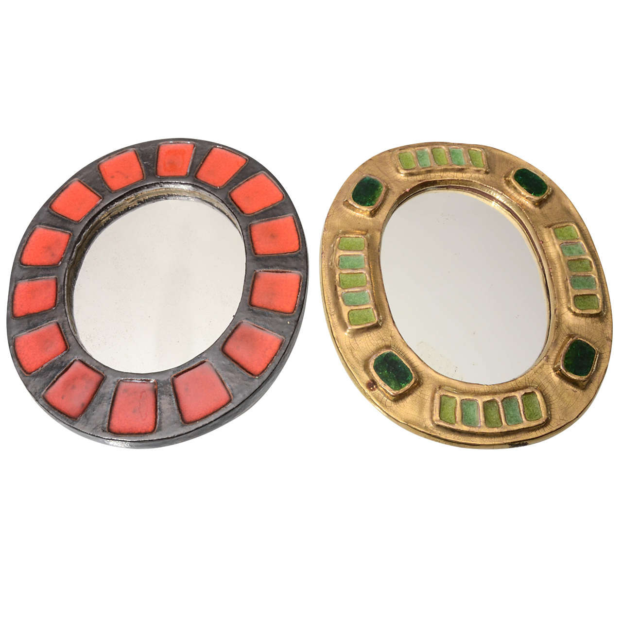 pair of very stylish small ceramic mirrors from france at